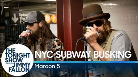 Watch: Maroon 5 and Jimmy Fallon give disguised performance in NYC subway