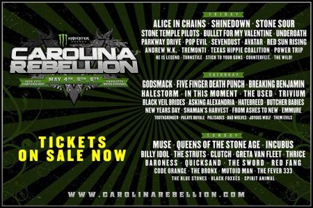 Carolina Rebellion 2018 lineup announced: Alice In Chains, Godsmack, Muse headlining