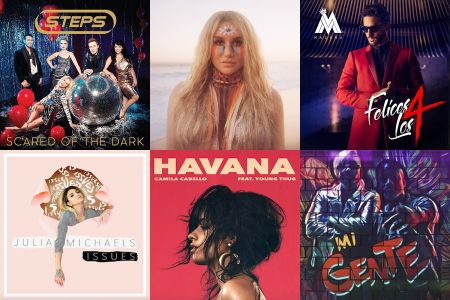 Steps, Kesha, Maluma, Julia Michaels, Camila Cabello and J Balvin single covers