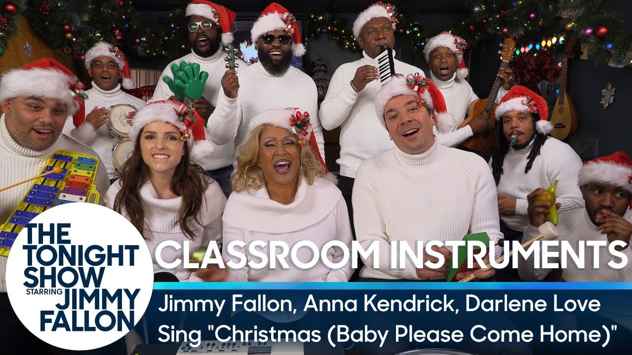 Anna Kendrick joins The Roots on 'The Tonight Show' to sing 'Christmas (Baby Please Come Home)' with classroom instrumen
