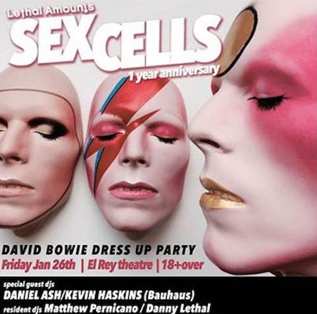 Bauhaus' Daniel Ash and Kevin Haskins will DJ a night of Bowie tunes at the Sex Cells: 1 Year Anniversary Party at the El Rey Theatre on Jan
