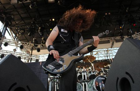 Frank Bello performing with Anthrax at The Shindig Music Festival in Baltimore, MD