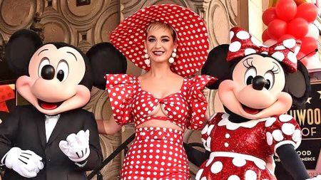 Katy Perry and Minnie Mouse a polka-dot dream at Hollywood Walk of Fame