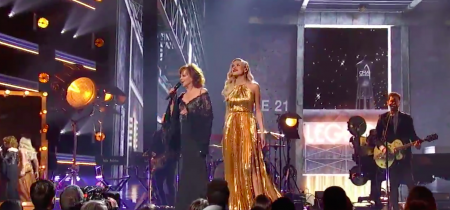 Kelsea Ballerini and Reba perform at the 51st CMA Awards.