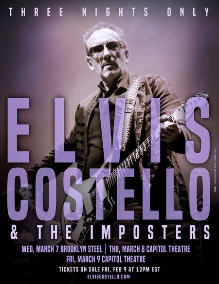 Elvis Costello & The Imposters will play a trio of shows around the New York City area next month at Brooklyn Steel and Capitol Theatre.