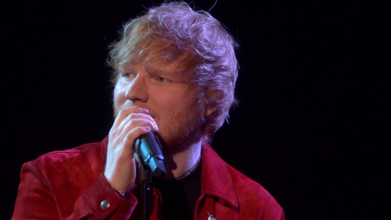 watch ed sheeran sing an emotional rendition of 39 supermarket flowers 39 at brit awards 2018 axs. Black Bedroom Furniture Sets. Home Design Ideas