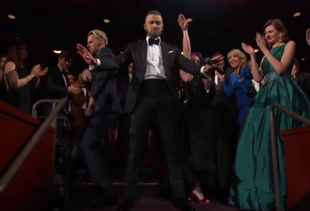 Justin Timberlake performs at the Academy Awards in Los Angeles on Sunday.