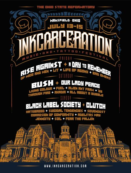 "The ""Inkcarceration"" Music and Tattoo Fest is set for July 13-15 in Mansfield / Columbus, Ohio...at the famous Ohio State Reformatory (as s"