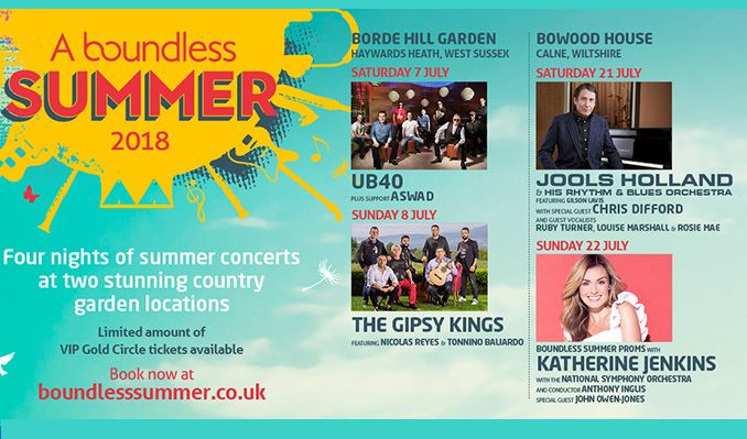 A Boundless Summer 2018 - Jools Holland and His Rhythm & Blues Orchestra featuring Gilson Lavis, with special guest Chris Difford and guest vocalists Ruby Turner, Louise Marshall & Rosie Mae tickets at Bowood House in Caine