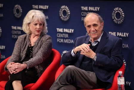 "BEVERLY HILLS, CA - APRIL 26: Julia Duffy joins Bob Newhart on stage for 'An Evening with Bob Newhart: A ""Newhart"" Celebration,' on April 26"