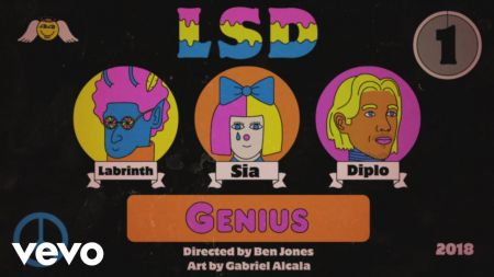 Watch: Sia, Diplo and Labrinth team up for new LSD collaboration, share trippy animated video for 'Genius'