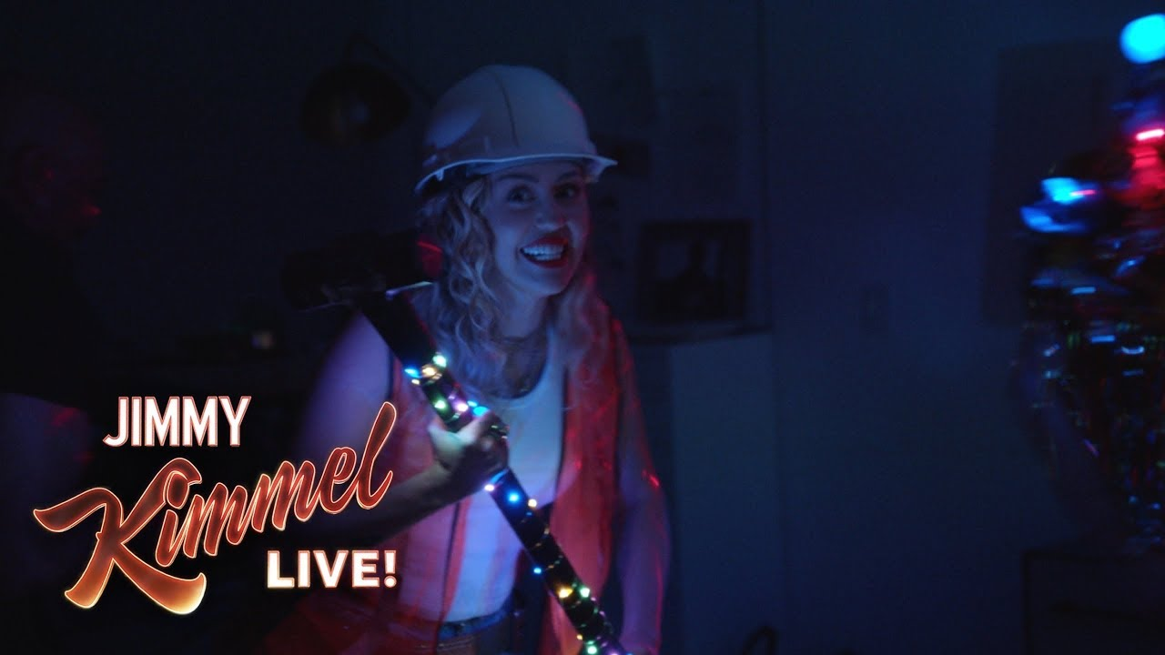 Watch: Miley Cyrus continues tradition of pranking Jimmy Kimmel with her own wrecking crew