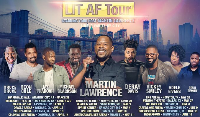 LIT AF TOUR Hosted by Martin Lawrence with... tickets at Bridgestone Arena in Nashville