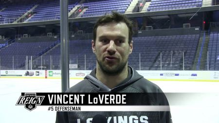 Former Ontario Reign defenseman Vincent LoVerde playing in the 2018 Calder Cup Finals