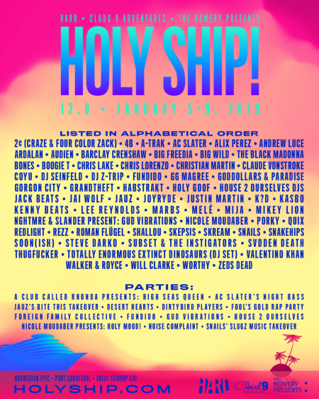 Holy Ship 12.0 and 13.0 drop lineups, tickets on sale today!