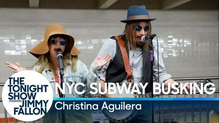 Watch: Christina Aguilera busks in NYC subway station with Jimmy Fallon