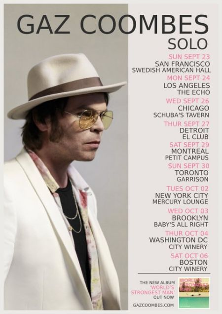 Gaz Coombes announced a North American fall tour.