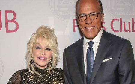 Dolly Parton and Lester Holt at the LA Press Club Annual Gala
