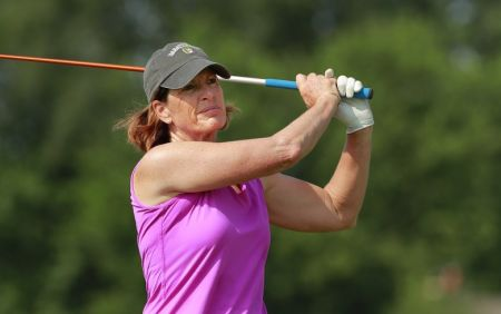 Juli Inkster during a practice round ahead of the U.S. Senior Women's Open.