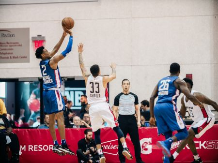 Shai Gilgeous-Alexander rises for a jumper in the Las Vegas Summer League.