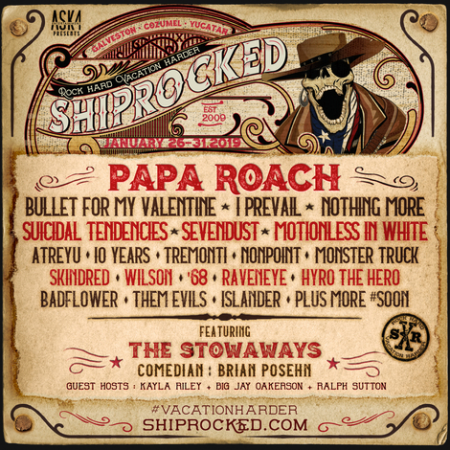 ShipRocked 2019 lineup announced: Papa Roach, Bullet For My Valentine, Sevendust, and more