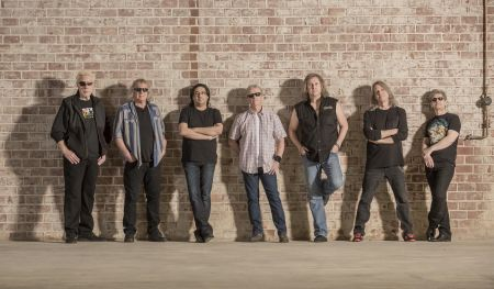 L to R is Richard Williams,Billy Greer, Zak Rizvi,Phil Ehart, Ronnie Platt, David Manion, andDavid Ragsdale.