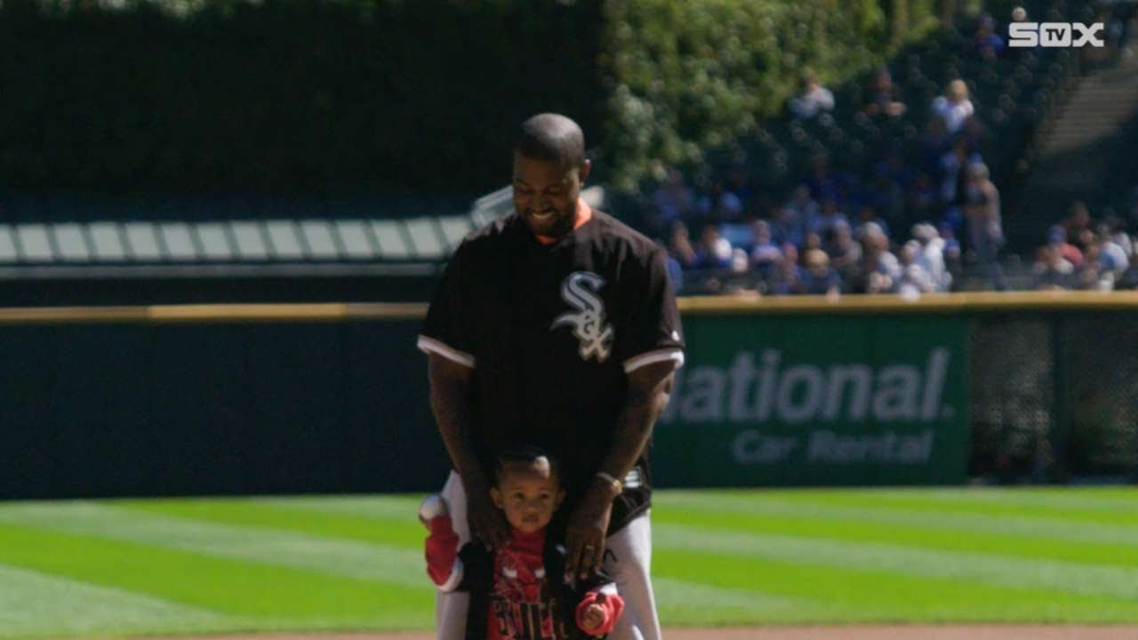 Watch: Kanye West throws first pitch with son Saint at Chicago Cubs-White Sox game