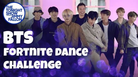 Watch: BTS and Jimmy Fallon do the Fortnite Dance Challenge on 'The Tonight Show'