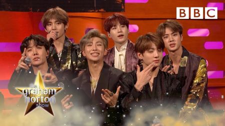 Watch: Harry Connick Jr. seizes selfie-op, Whoopi Goldberg gives BTS shirt off her back on 'Graham Norton'