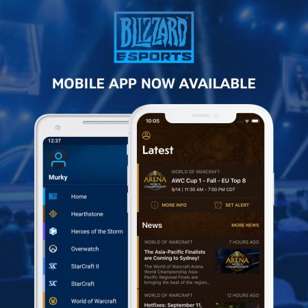 The Blizzard Esports mobile app allows users to set alerts and follow news for their favorite esports events.