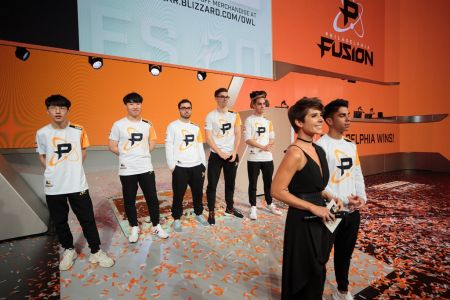 The Philadelphia Fusion stands victorious in theinaugural season's semifinals before moving to the grand finals, where it would fall second
