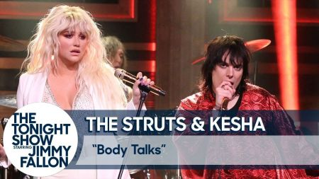Watch: Kesha performs 'Body Talks' alongside The Struts on 'Tonight Show'