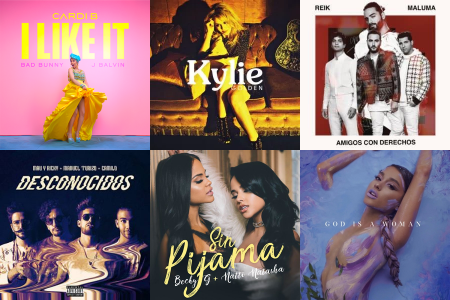 Cardi B, Kylie Minogue, Reik, Mau y Ricky, Becky G and Ariana Grande single covers