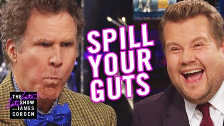 Watch: Will Ferrell knocks back a raw clam smoothie for 'Spill Your Guts' with James Corden