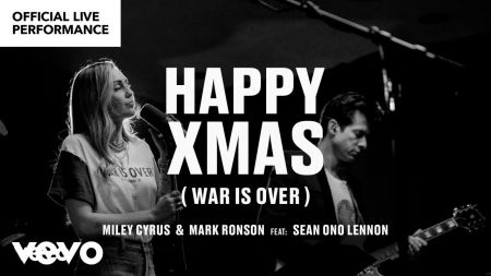 Watch: Miley Cyrus and Mark Ronson feat. Sean Ono Lennon drop 'Happy Xmas (War Is Over)' video