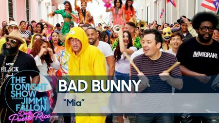 Watch: Bad Bunny and Jimmy Fallon perform 'MIA' in Puerto Rico, lead a street parade