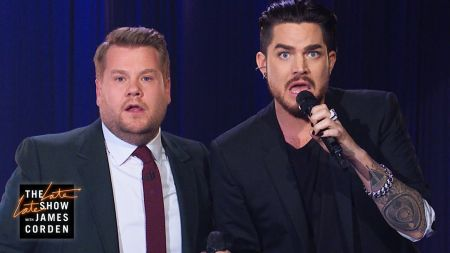 Watch: Adam Lambert joins James Cordon for epic NFL-themed Queen parody on 'The Late Late Show'