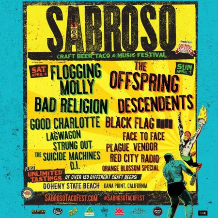Sabroso Craft Beer, Taco & Music Festival expands to two days at Doheny State Beach April 6 - 7, 2019, featuring The Offspring, Flogging Mol