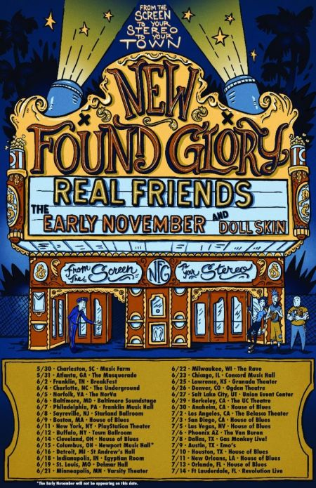 Tour dates for New found Glory's 'From the Screen to Your Stereo to Your Town' summer tour