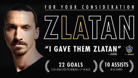 LA Galaxy's Zlatan Ibrahimovic named as finalist for three MLS End-of-Year Awards