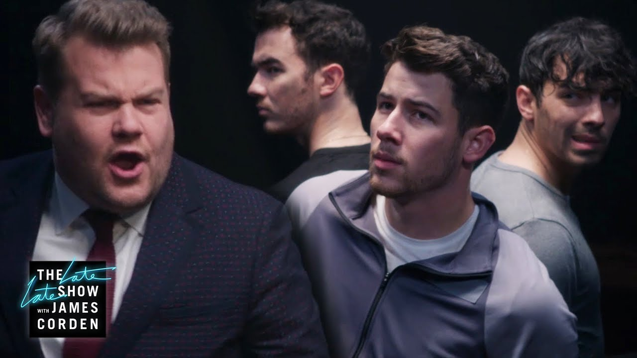 Watch: James Corden takes extreme measures to reunite the Jonas Brothers on 'The Late Late Show'