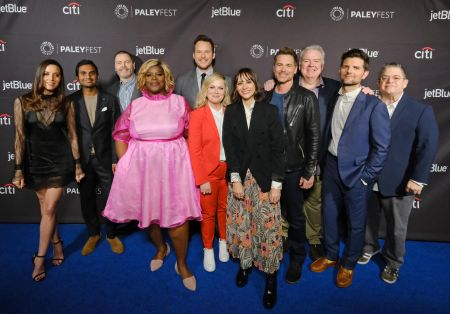 "HOLLYWOOD, CA – MARCH 21: Moderator Patton Oswalt and the cast of ""Parks & Recreation"" at PaleyFest LA 2019 honoring ""Parks & Recreation 10t"