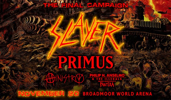 Slayer tickets at Broadmoor World Arena in Colorado Springs