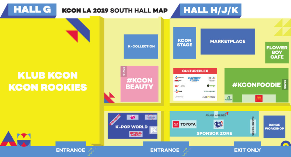 KCON LA 2019 daily schedule, entry locations, maps, event